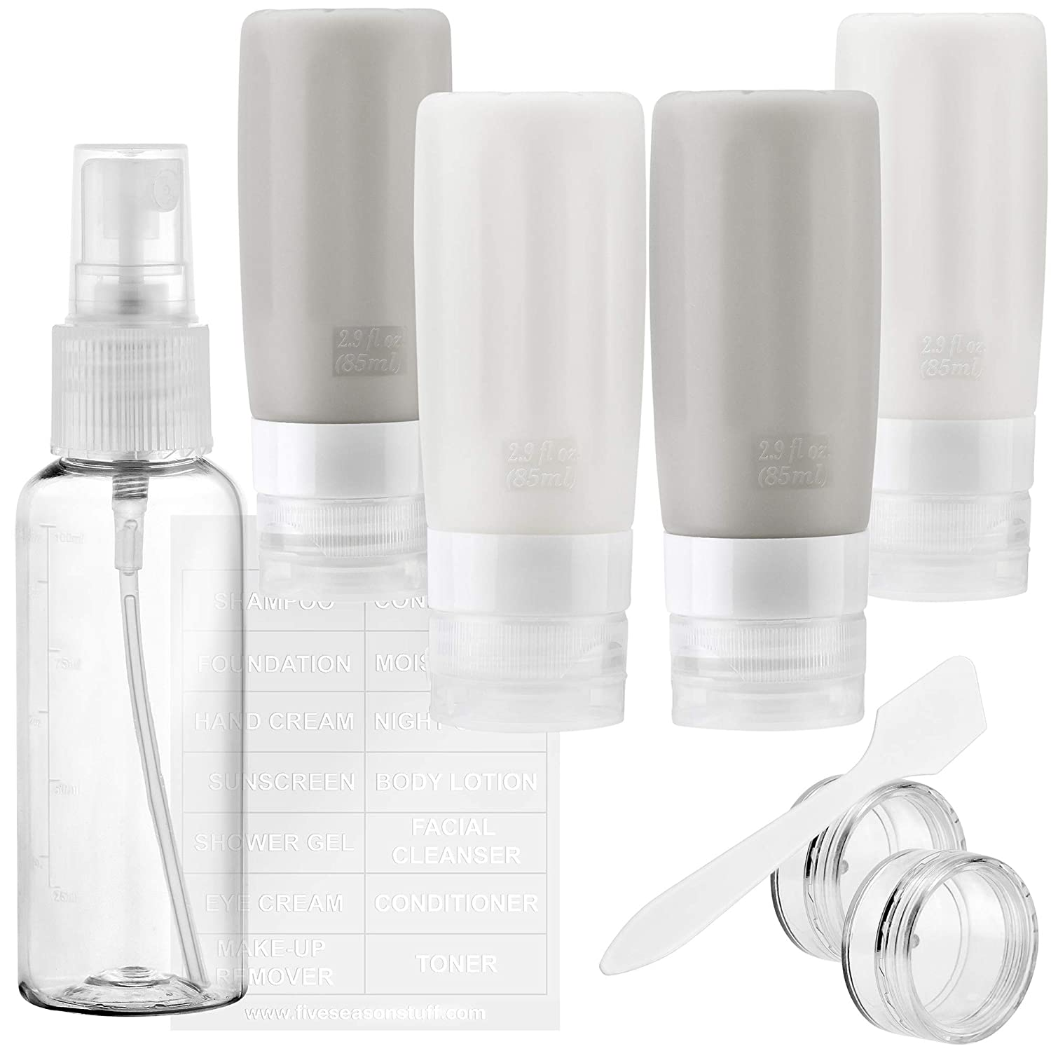 TSA Approved Silicone Leak Proof Travel Squeeze Bottles and Travel Spray Bottle with TSA Toiletry Bag (7 Pack) FiveSeasonStuff (Gray & White)