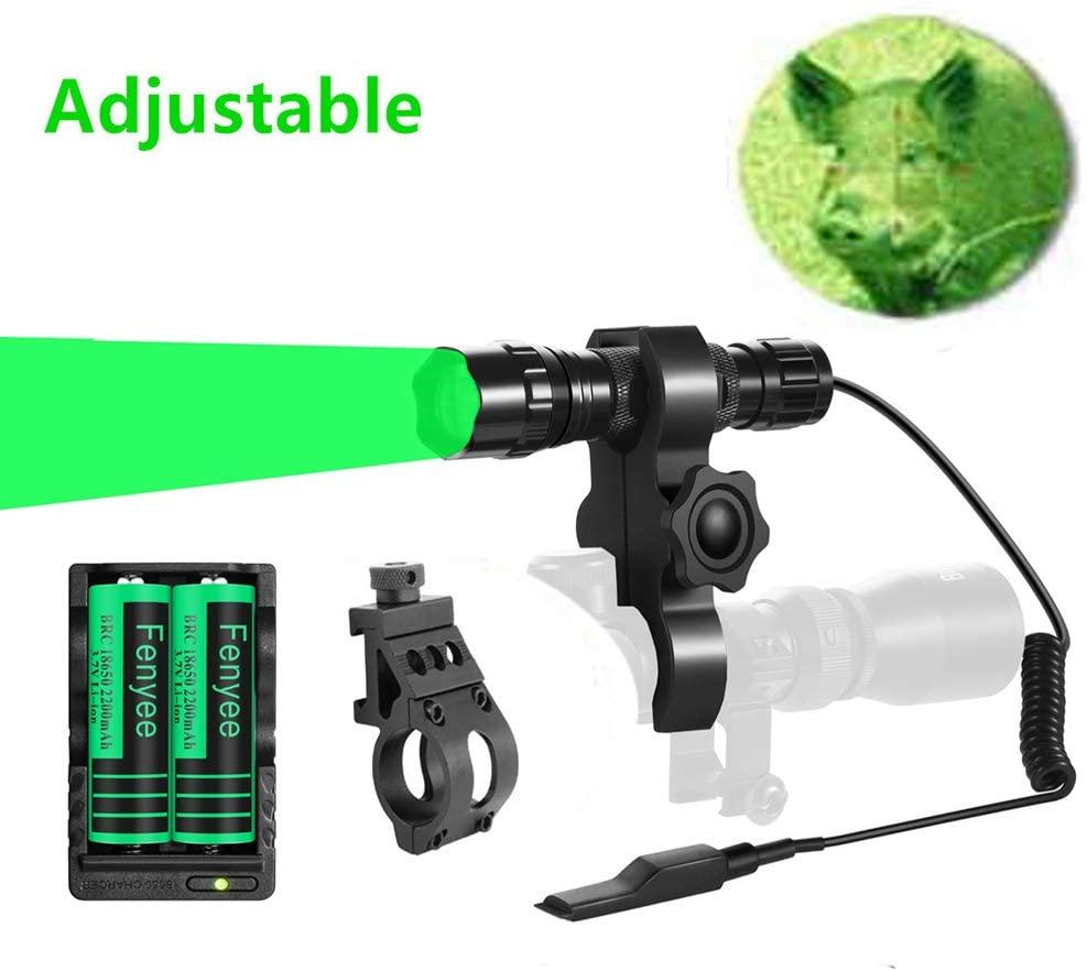 Fenyee Green Light Flashlight Torch Adjustable 350 Yards Coyote Hog Pig Varmint Hunting Scope Offset Mount