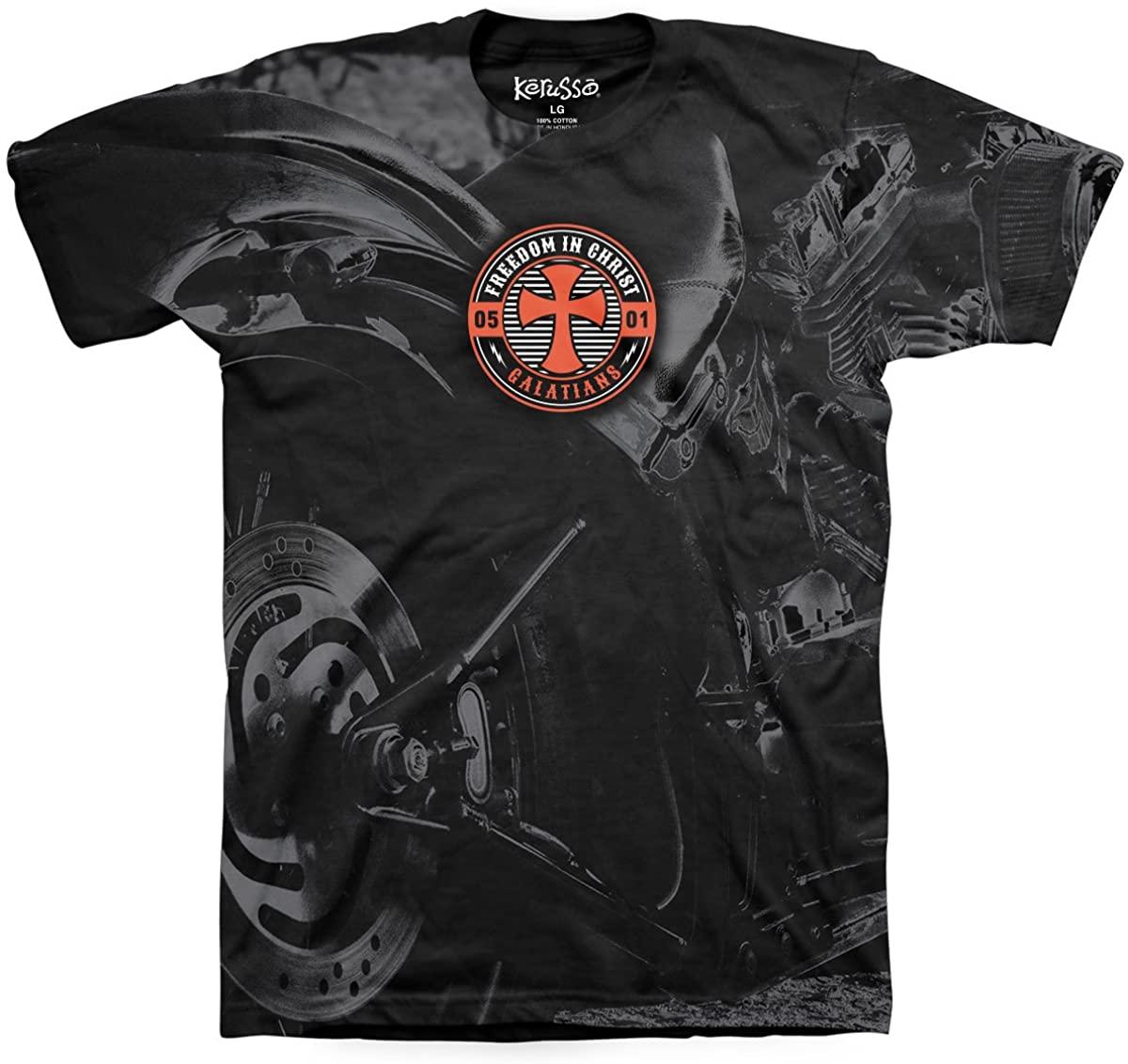 Kerusso Men's Motorcycle T-Shirt - Black -