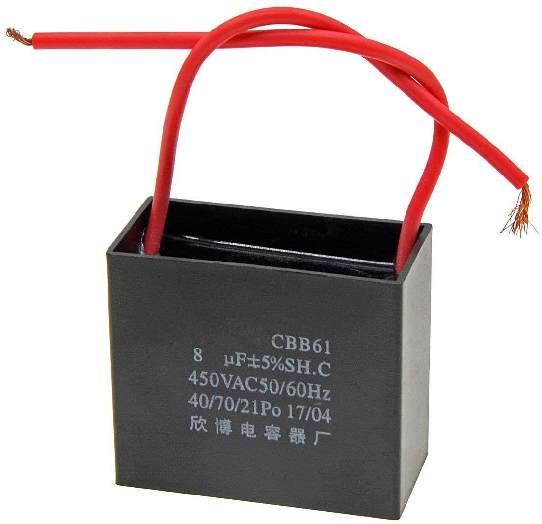 YXQ Ceiling Fan Capacitor 2 Wire 8uF AC 450V 50/60HZ Electric Running Motor Start CBB61 SH 3-Pack Black