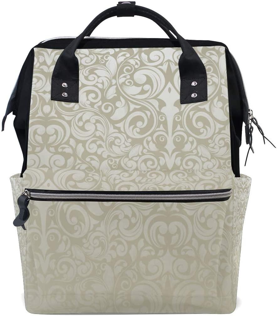 FengJu Backpack Multi-Function Canvas School Rucksack Large Capacity Diaper Bag Travel Laptop Bookbag for Women Girl Silver Wallpaper