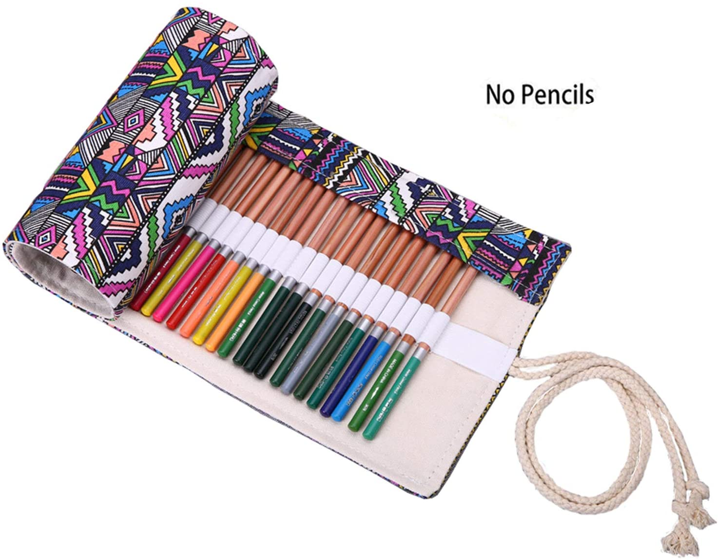 Kaariss Canvas Pencil Wrap, Travel Drawing Coloring Pencil Roll Organizer for Artist, Pencils Pouch Case Hold for 72 Colored Pencils (Pencils are NOT Included) Bohemian 72