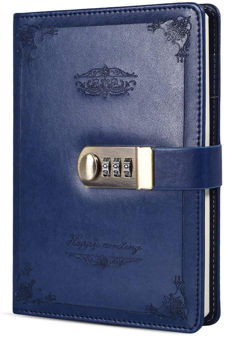 ARRLSDB Digital Password Lock Diary, PU Leather Combination Lock Journal (Combination Lock Diary) A5 Password Notebook Retro Privacy Journals Locking Personal Diary (Blue)