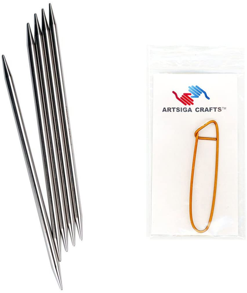 ChiaoGoo Knitting Needles Red Double Point 6 inch (15cm) Stainless Steel Size US 6 (4mm) Bundle with 1 Artsiga Crafts Stitch Holder 6006-6