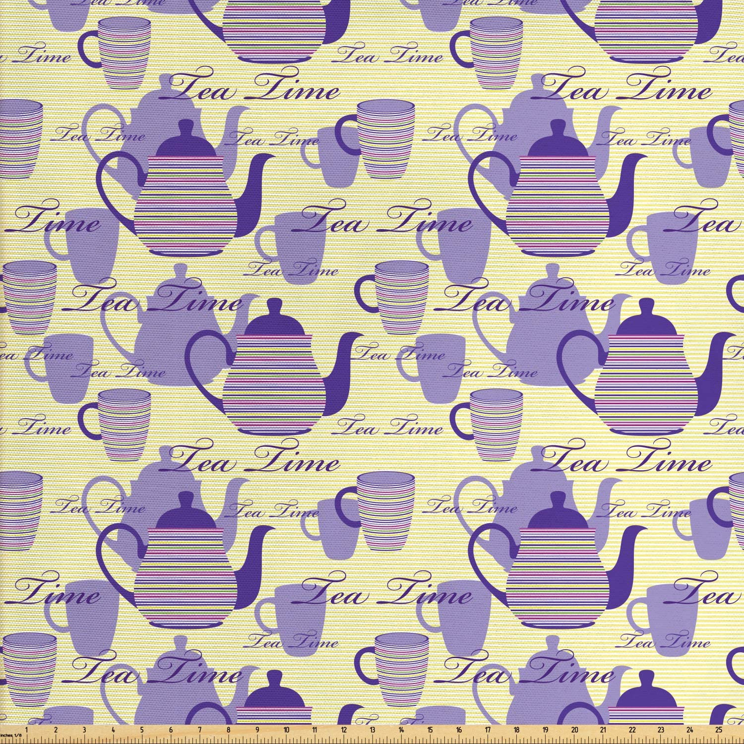 Ambesonne Tea Party Fabric by The Yard, Striped Teapots Cups Silhouettes Classical Calligraphy Pattern, Decorative Fabric for Upholstery and Home Accents, 2 Yards, Yellow Lavender