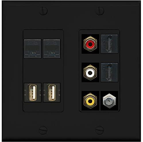 RiteAV - (2 Gang Decorative Composite Video 2 USB 2 HDMI Coax 2 Cat5e Wall Plate Black