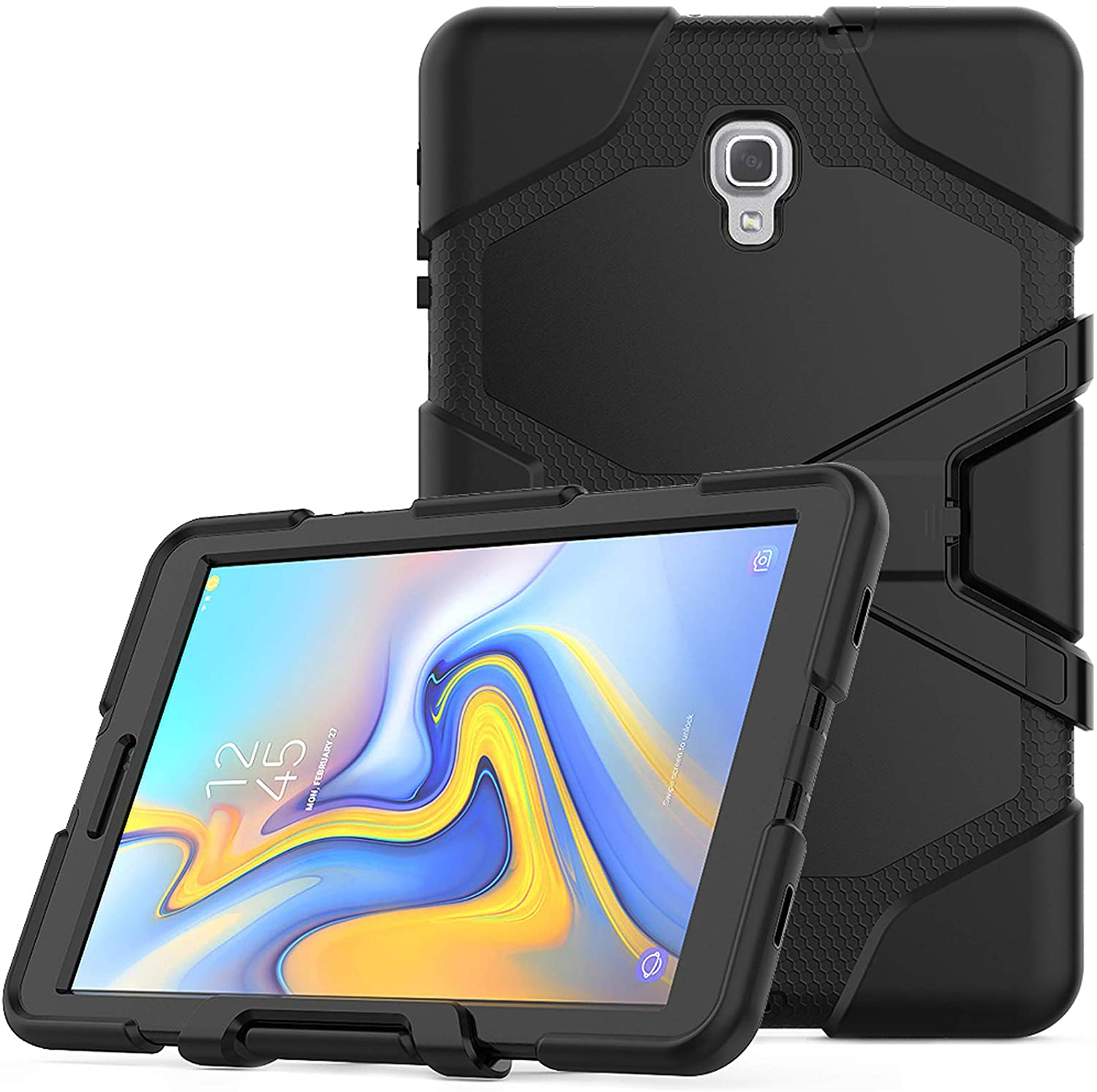 Lobwerk 3in1 Case for Samsung Galaxy Tab A 10.5 Inch SM-T590 T595 Outdoor Cover with Screen Protector + Stand Feature Black