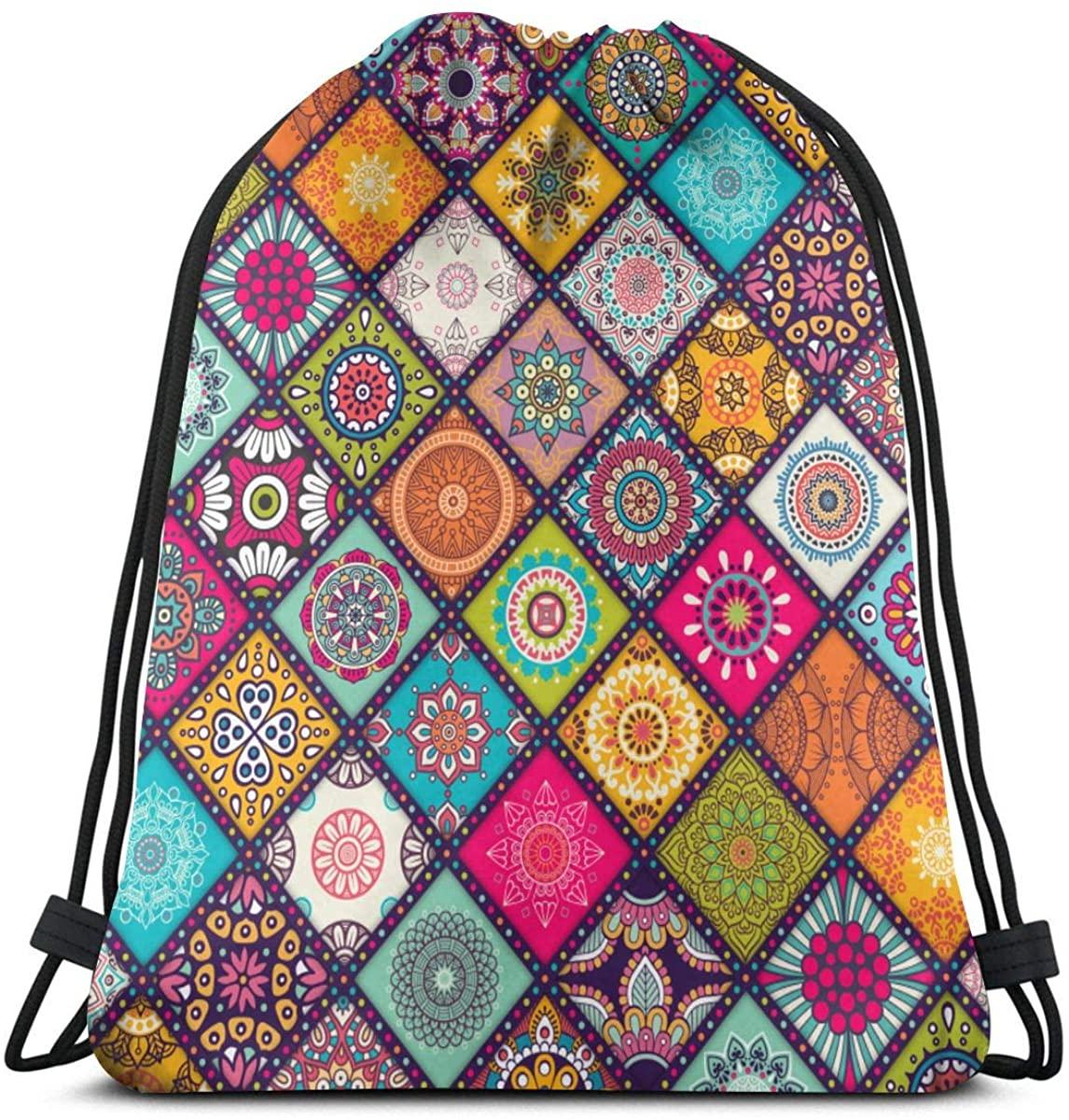 Drawstring Bags Laundry Bag Mandala Storage Pouch Bag Drawstring Backpack Bag Washable Dust-Proof Breathable Non-Transparent Travel Sport Gym Sackpack For Men Women