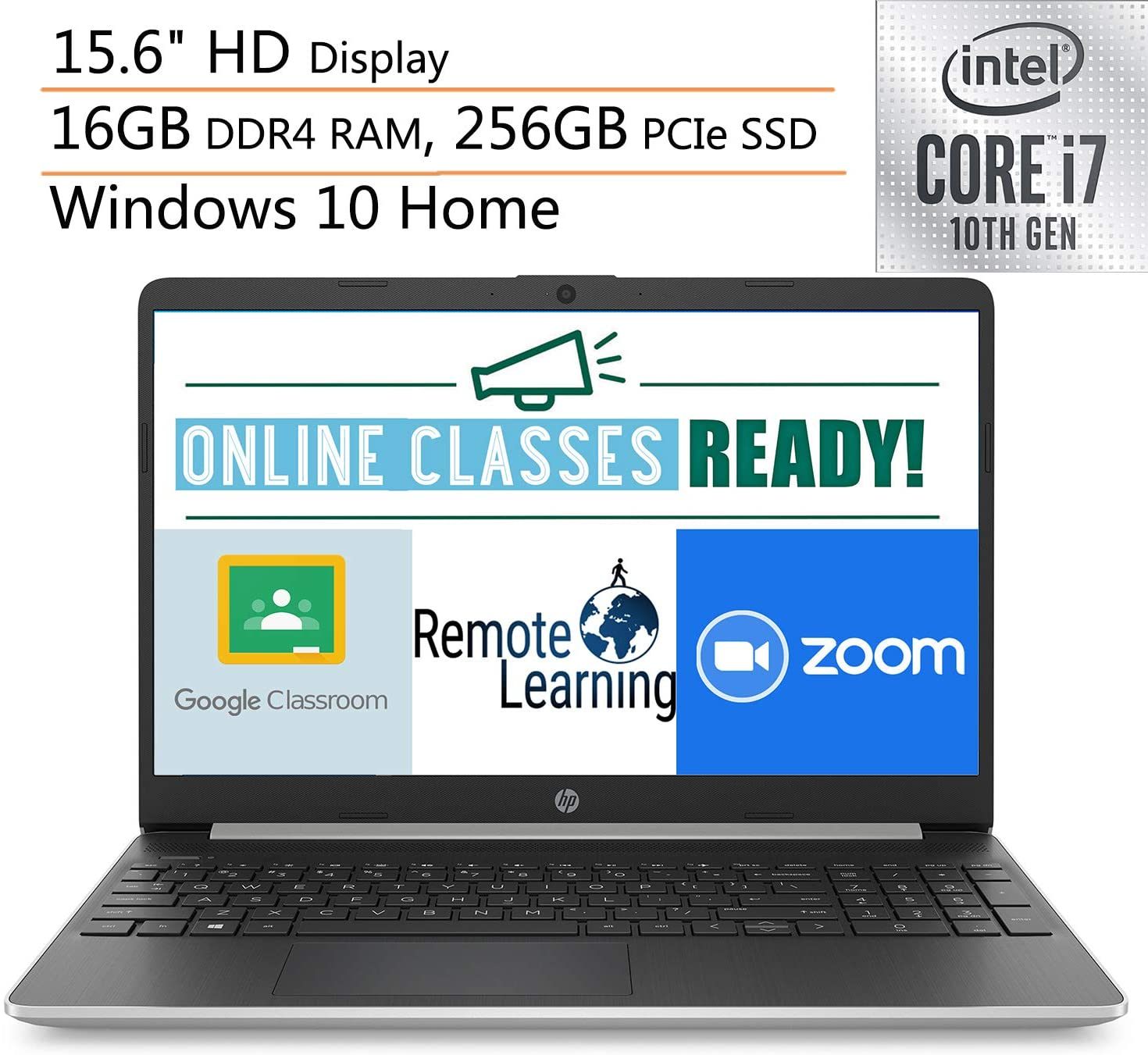2020 HP 15 15.6 Laptop Computer, 10th Gen Intel Quard-Core i7 1065G7 up to 3.9GHz, 16GB DDR4 RAM, 256GB PCIe SSD, 802.11AC WiFi, Microphone, Webcam, Online Class Ready, Windows 10, iPuzzle Mousepad