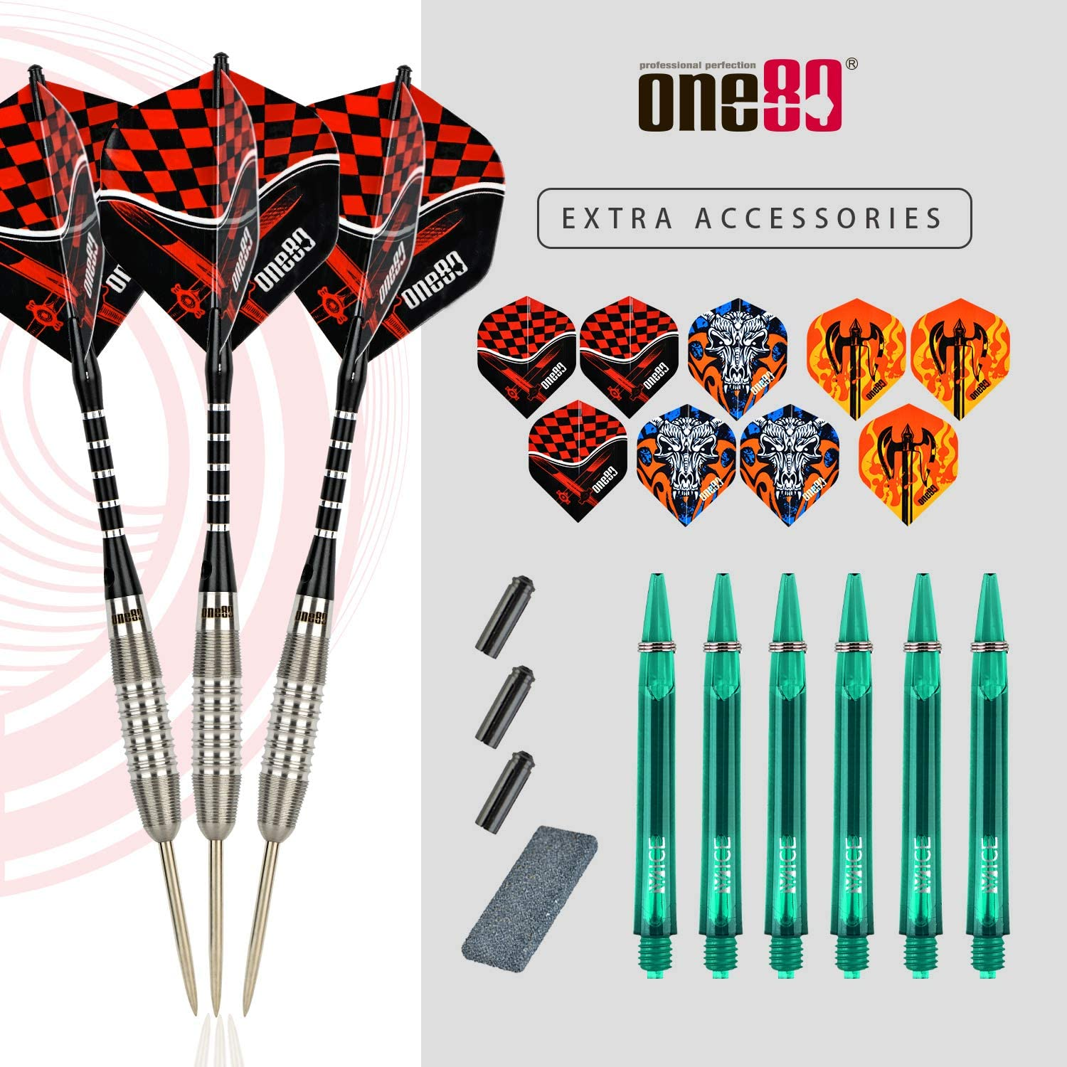 ONE80 90% Tungsten Professional Steel Tip Darts Set with Gift Box