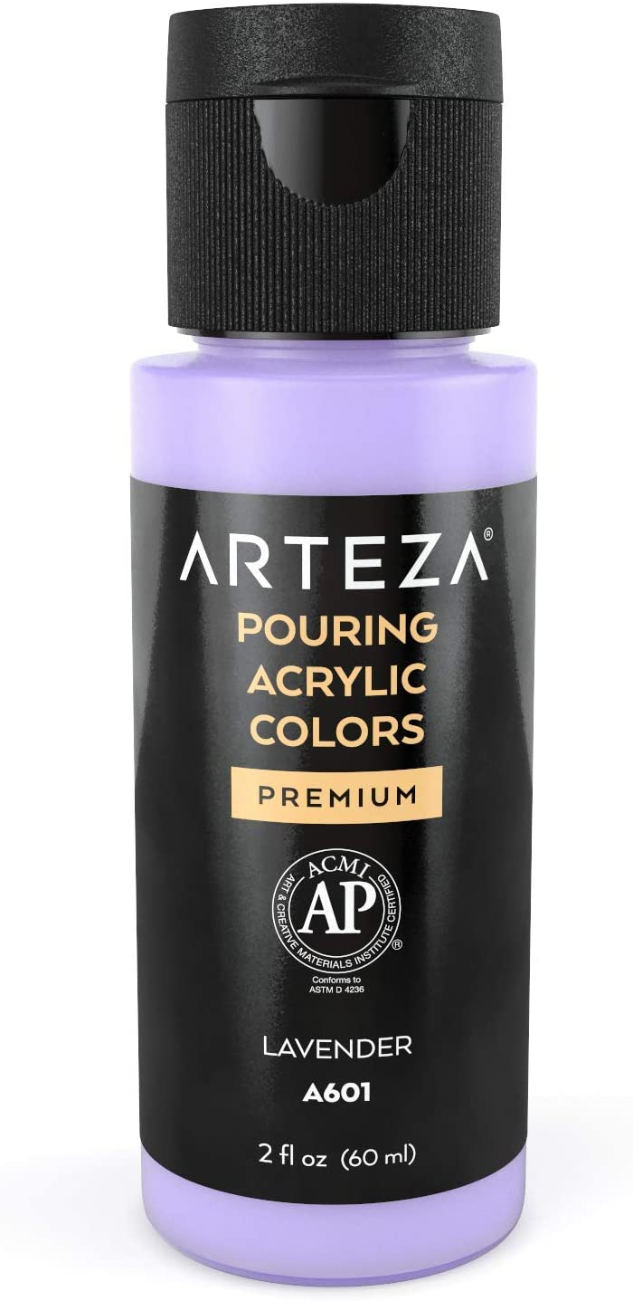 Arteza Acrylic Pouring Paint, 2oz (60 ml), A403 Lavender High Flow Acrylic Paint, No Mixing Needed, Paint for Pouring on Canvas, Glass, Paper, Wood, Tile, and Stones