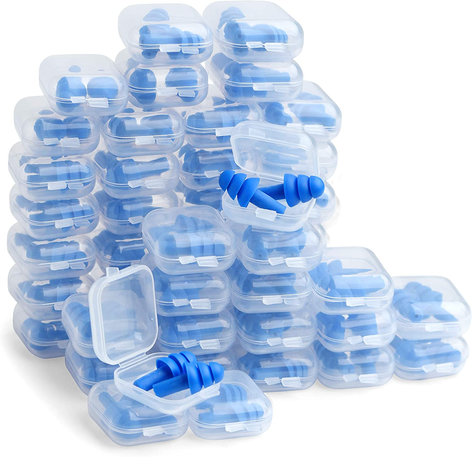 50 Pairs of Silicone Ear Plugs in Plastic Cases NRR 28dB Soft Reusable Washable Comfortable for Swimming Adults Earplugs Water Shower Surfing Sports