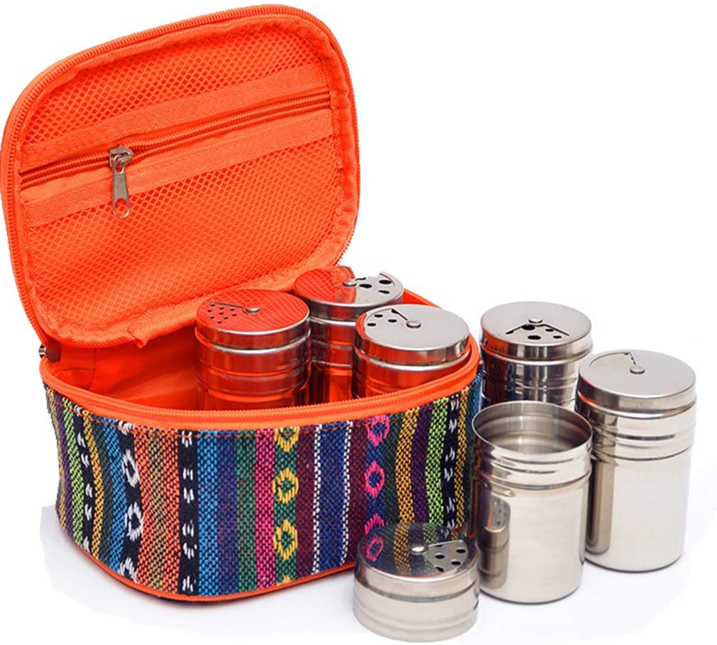 Meao 6 Spice Jars Bottles Portable Packing Bag- Stainless Steel Spice Containers Salt Sugar Pepper with Rotating Cover - Ideal Spice Tins for Indoor Kitchen Cooking and Outdoor Barbecue Camping Picnic