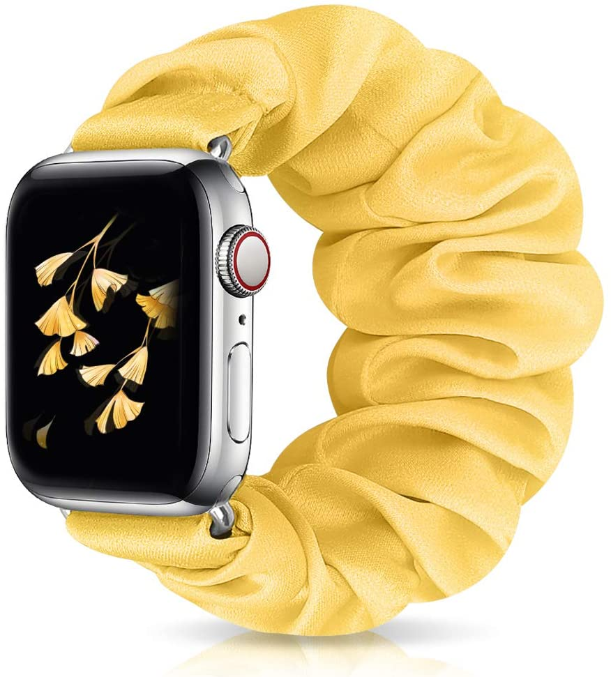 Runostrich Scrunchie Apple Watch Band Floral for iwatch 44mm 42mm, Soft Elastic Scrunchy Straps Women Bracelets Replacement Band for Apple Watch Series 5/4/3/2/1 (W Yellow, 42mm/44mm L)