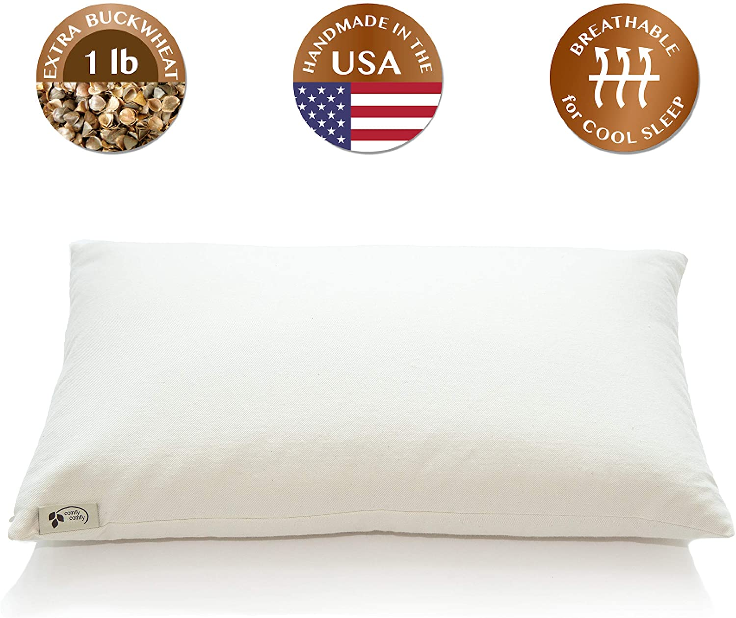 """ComfyComfy Premium Buckwheat Pillow, Classic Size (14"""" x 23""""), Comes with Extra 1 lb of USA Grown Buckwheat Hulls to Customize for Comfort, Made from Durable Organic Cotton Twill"""