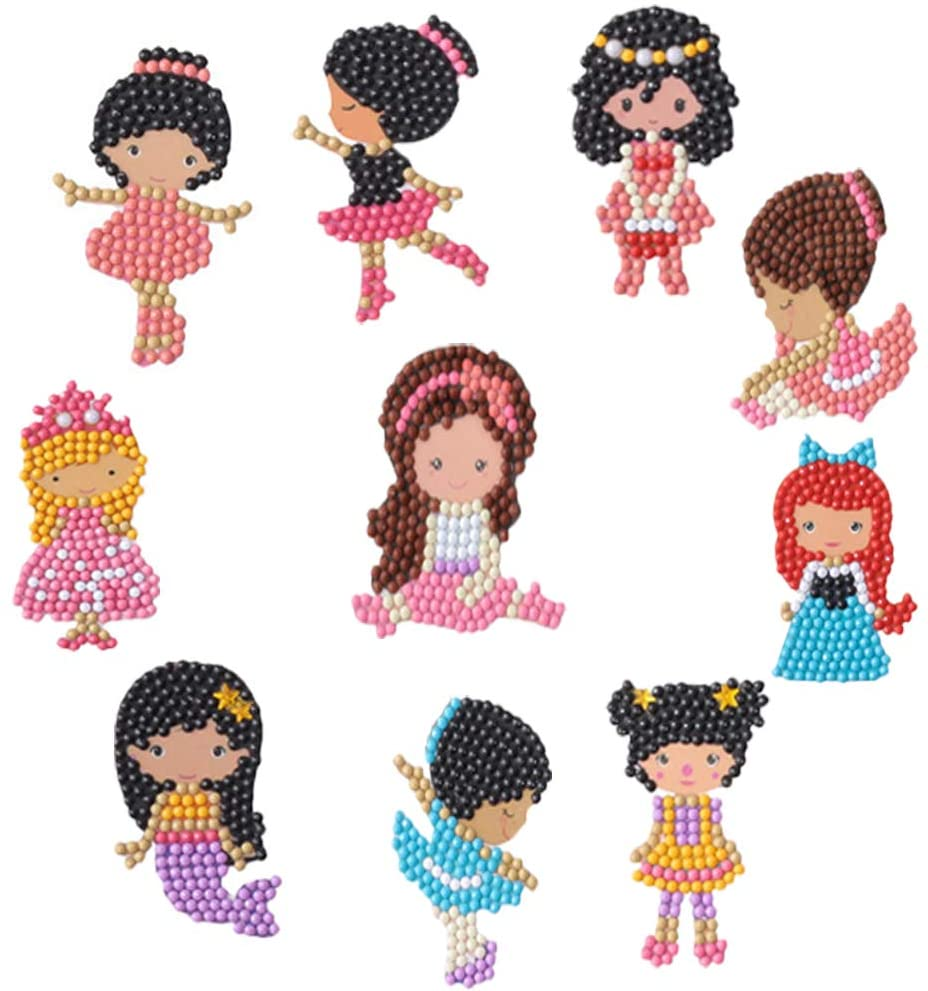 UNIKbrush DIY Diamond Painting Kits for Kids Sticker Paint Cartoon Cute Kits Arts Crafts Kits for Children Beginner Adults Interaction Creative Gift (Girls)
