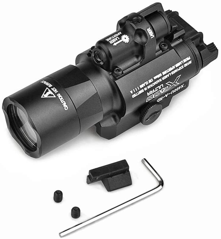 element airsoft Official Store Night-Evolution X400U Flashlight X400 Ultra Scout Light with CREE XP-G R5 LED & White-Light and Red Tactical Light Black