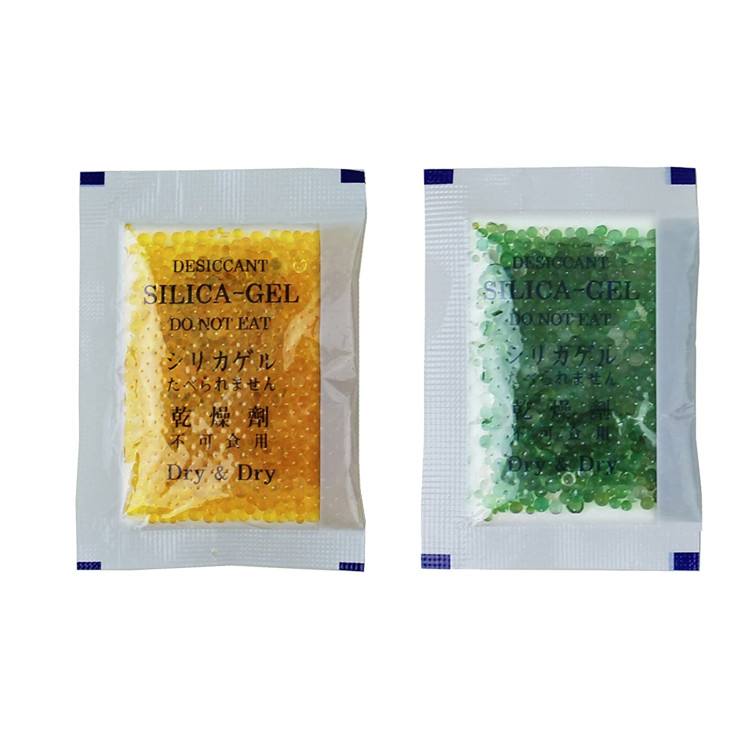 Dry & Dry 10 Gram [50 Packets] Premium Silica Gel Orange Indicating(Orange to Dark Green) Silica Gel Packets Desiccant Dehumidifier - Rechargeable Silica Packets for Moisture Absorber Silica Gel Packs