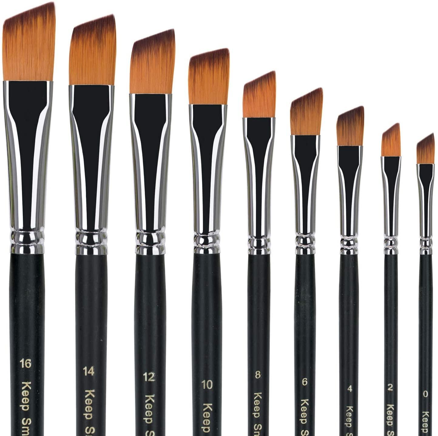 golden maple Artist Paint Brushes Set 9pcs Obilique Tipped Paint Brushes Set for Acrylic Watercolor Oil Painting,Long Handle