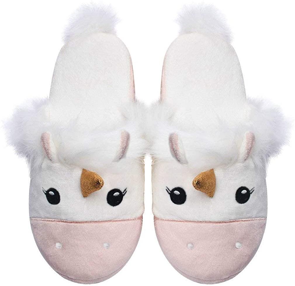 Unicorn Plush Slippers Women Animal Cartoon Comfy Cute Warm Lightweight Home Indoor