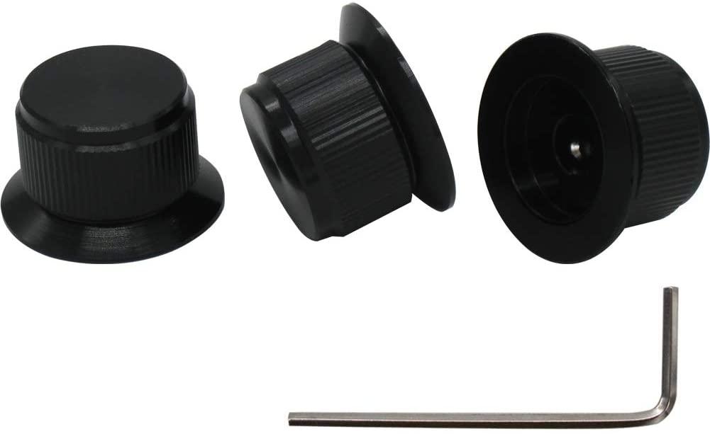 mxuteuk 3pcs Black Aluminum Alloy Potentiometer Control Knob Volume Audio Electric Guitar Bass Screw Type 24 x 14.5mm (dh) KNOB-07-BK