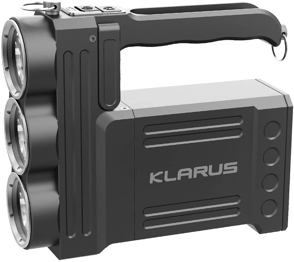 klarus RS80GT 10000 Lumens Ultra-Bright Rechargeable Portable Spotlight, CREE XHP 70.2 LED, 6×3400mAh 18650 Battery Pack, USB Out Power Bank Function and Table Lamp