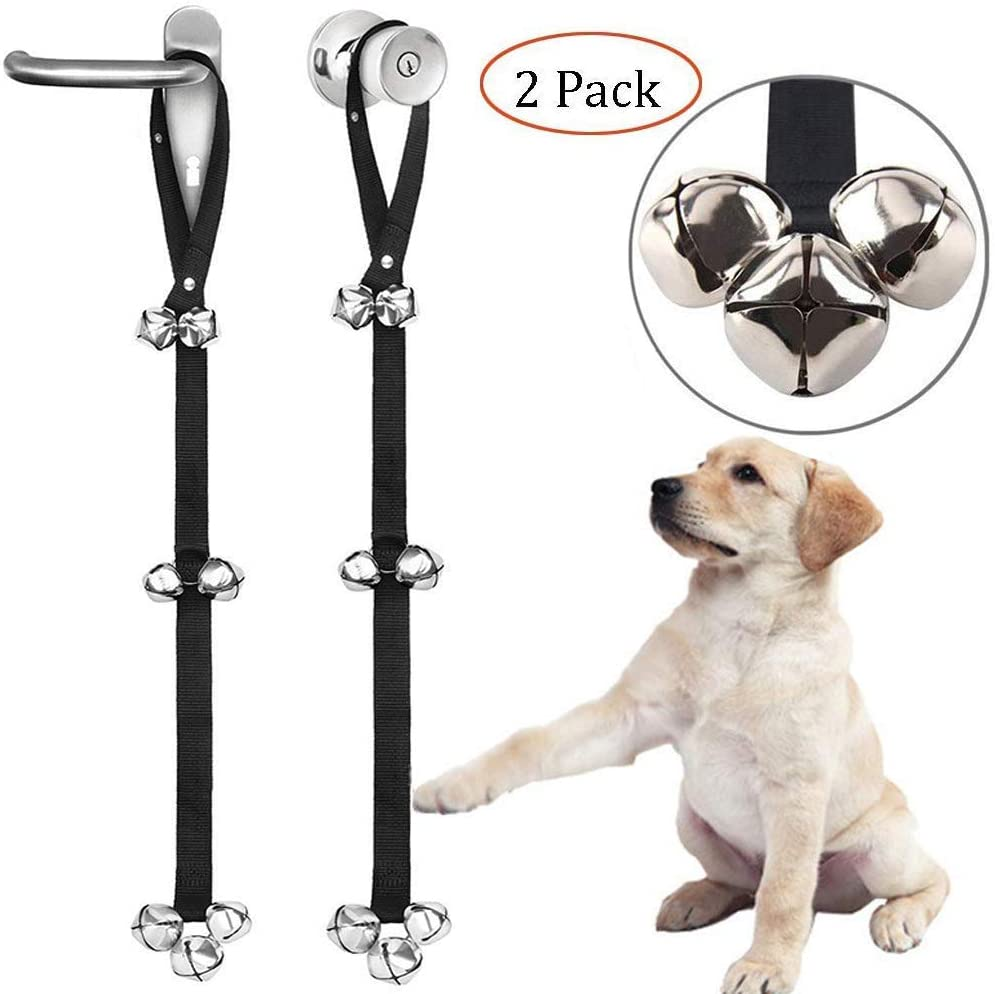 Luckyiren Upgraded Puppy Bells Doorbells for Door Knob | Dog Bells for Potty Training-Louder Jingle, Bigger Bells for Puppies Doggy Doggie Canine Pooch Pet Hound Cat | Cool Unique Gift for Dog Lovers