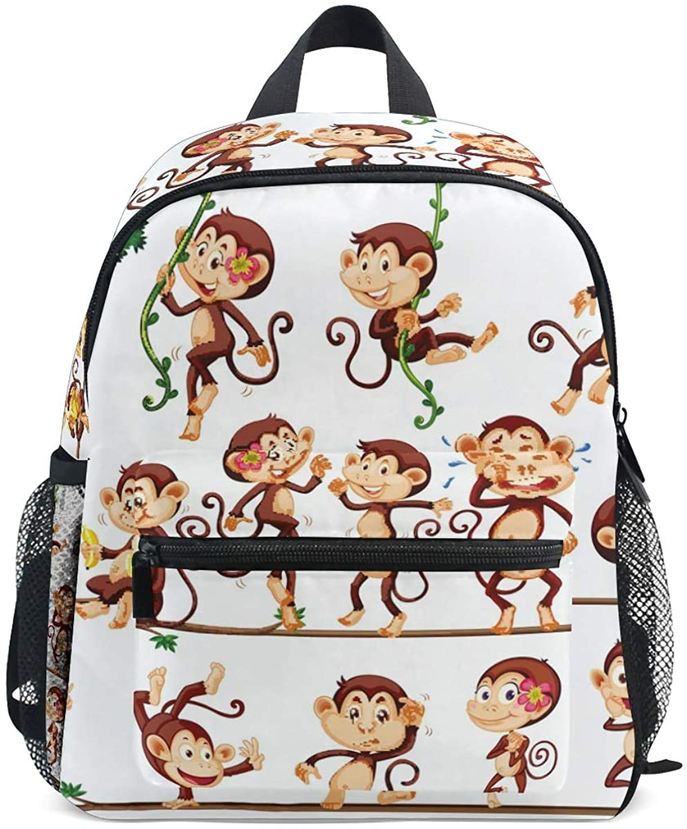 Upgraded Backpack for School Teenagers Girls Boys Monkeys Travel Bag with Chest Buckle and Whistle(A)
