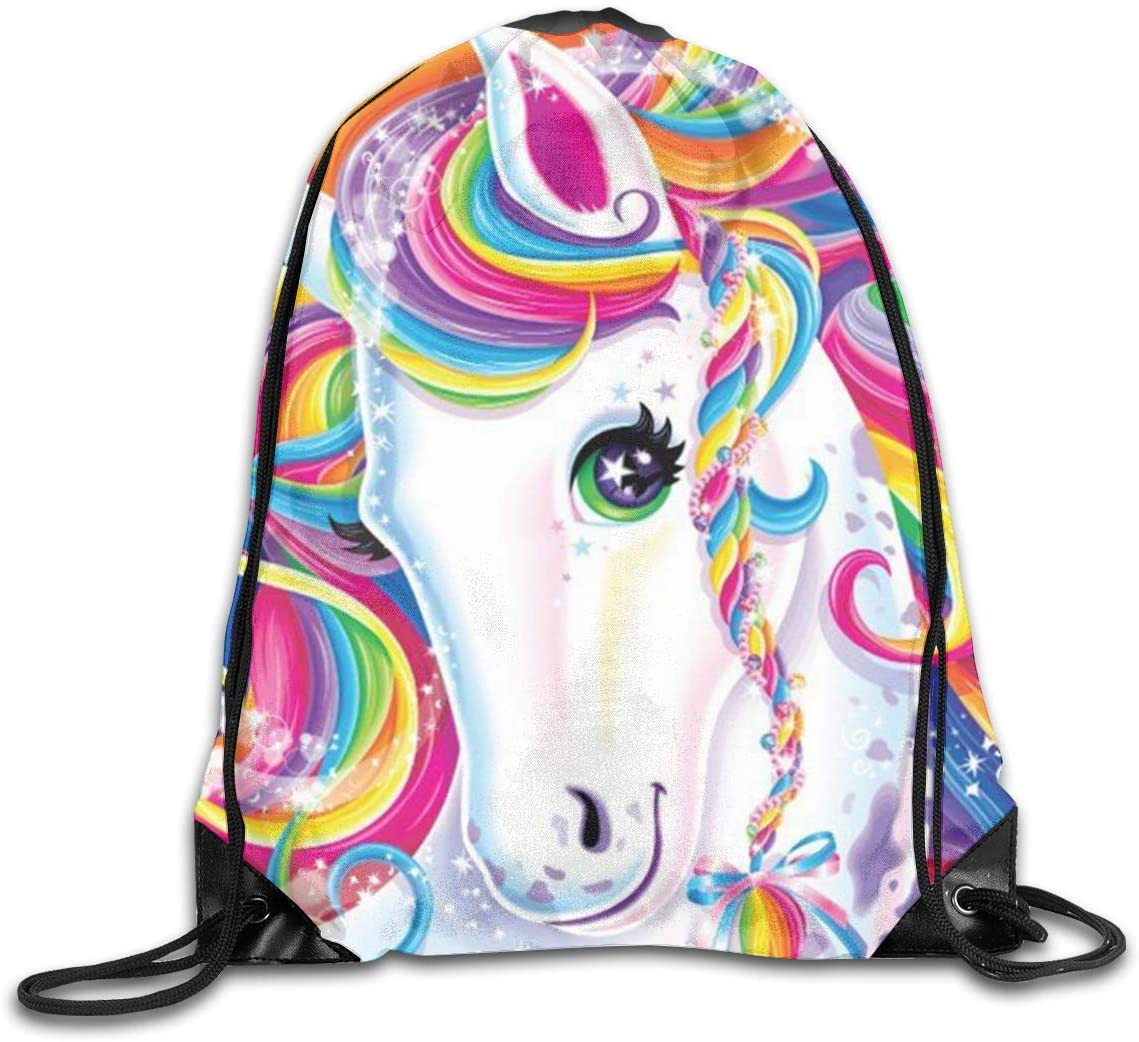 Colorful Rainbow Unicorn Drawstring Sports Backpack Gym Yoga Sackpack String Bag Travel Storage Sack For Women And Men Suitable For School Swim Running Beach Outdoor