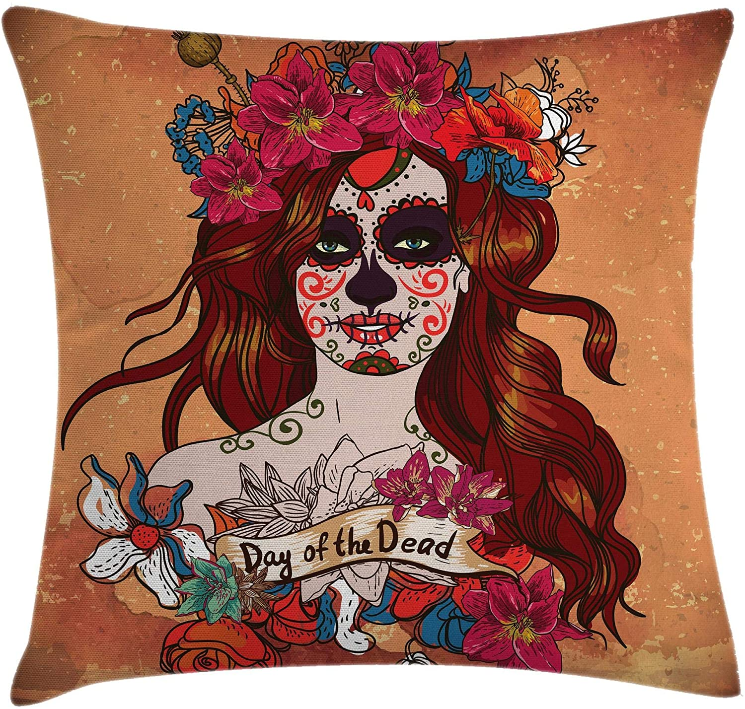 Ambesonne Day of The Dead Throw Pillow Cushion Cover, Dia de Los Muertos Spanish Culture Mexican Skull Art, Decorative Square Accent Pillow Case, 16