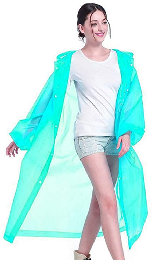 Rain Ponchos for Adults with Drawstring Hood, Lightweight Reusable or Disposable 5 Pack