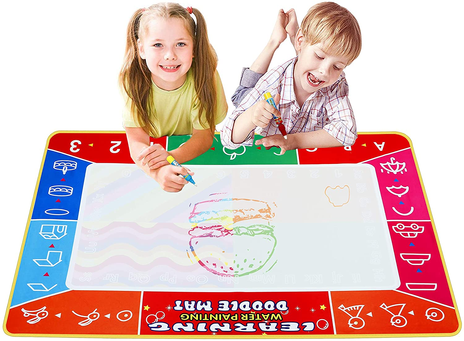 mieeter Water Drawing Pad Doodle Mat Travel Educational Toy Extra Large Coloring Art Set for Kids No Mess Reusable Ultra-Clean Washable Activity Gifts, 3 Magic Pens