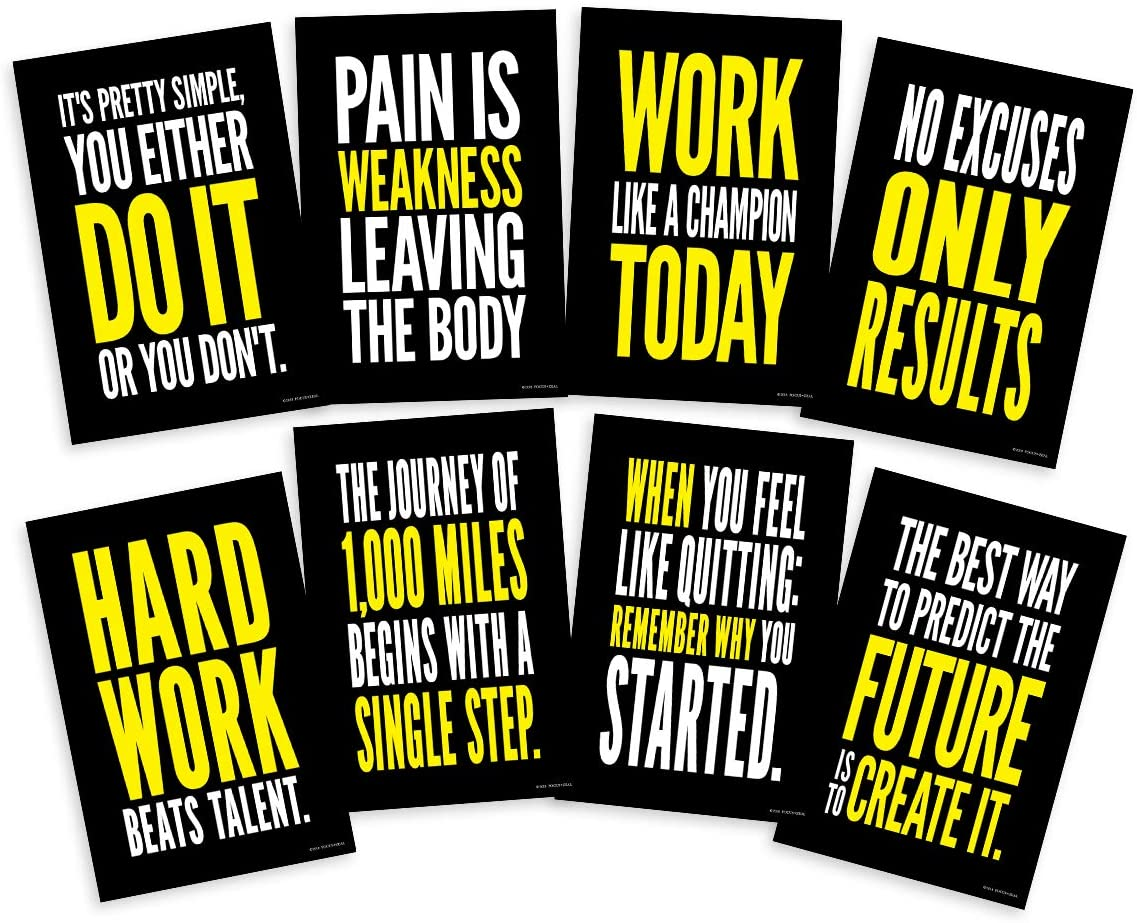 Focus and Zeal Fitness Motivational Posters Inspired by Crossfit, Fitness, Exercise and Workout Experts - Size 12 x 18 in, Set of 8
