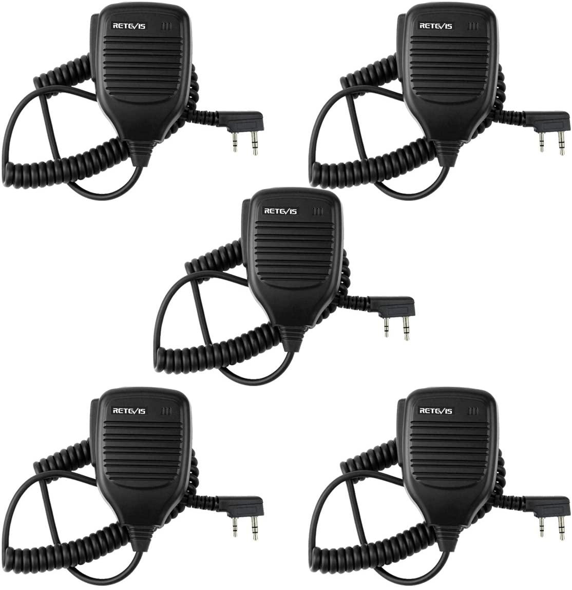 Retevis 2 Pin Shoulder Mic Speaker 2 Way Radio Microphone for Baofeng BF-888S UV-5R Kenwood Retevis H-777 RT21 RT22 RT-5R Walkie Talkie (5 Pack)