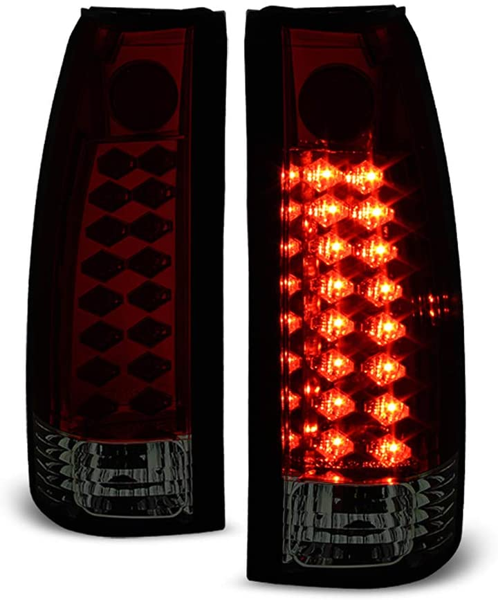 ACANII - For 1988-1998 Chevy Silverado GMC Sireea C/K 1500 Lumileds Red Smoked LED Tail Lights Lamps Driver & Passenger
