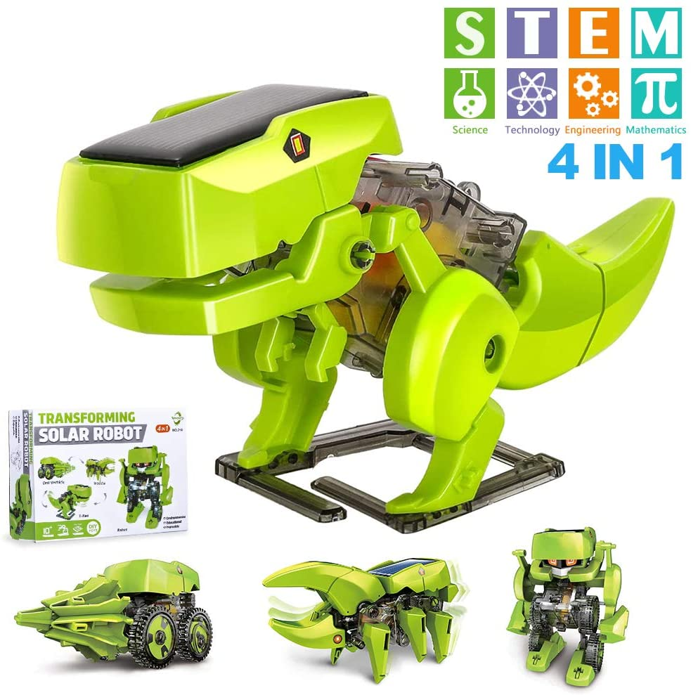 OFUN STEM Projects for Kids Ages 8-12, Coding Robots 4 in 1 Learning Science Kits DIY Building Dinosaurs Toy Age 8 and up Gift for Boys Girls