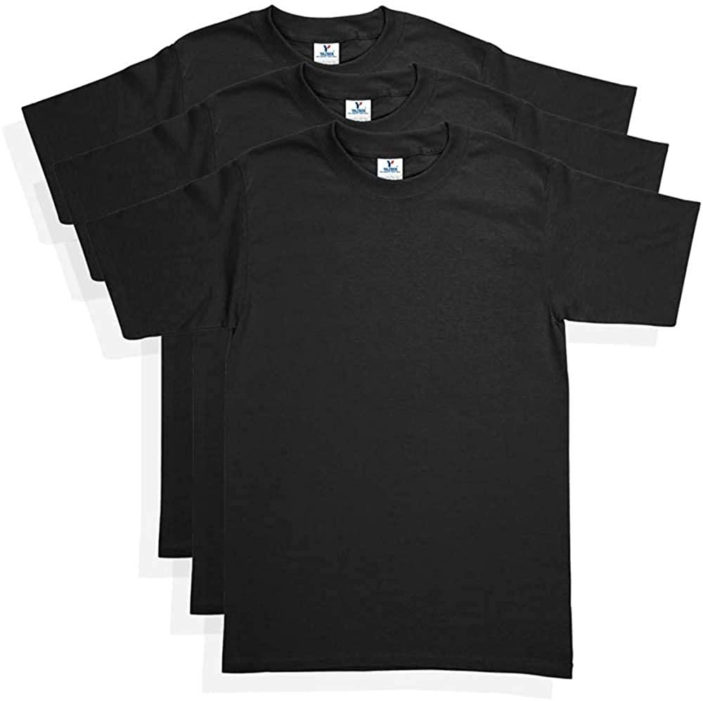Yazbek Men's Heavy Weight Crew Neck Short Sleeve T-Shirt - Black (3-Pack) (Small)