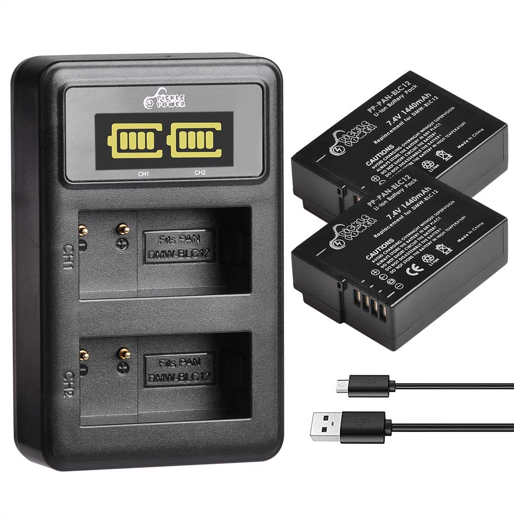 Pickle Power 2 Pack DMW-BLC12 Battery and Dual USB Charger with LCD Display for Panasonic Lumix DMC-G7, DMC-G85, DMC-FZ200, DMC-FZ1000, DMC-G5, DMC-G6, DMC-GH2,DMC-GX8