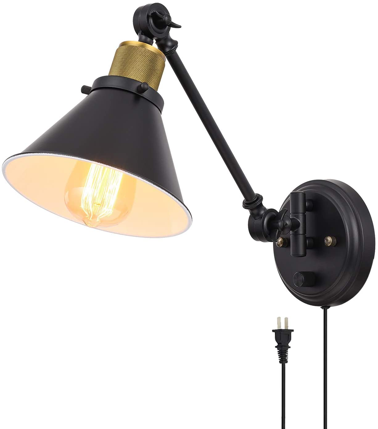 TRLIFE Plug in Wall Sconce, Dimmable Swing Arm Wall Light with Plug Wall Sconce with On/Off Switch, Wall Mounted Industrial Wall Sconce with 6FT Plug in Cord, E26 Base, UL Listed