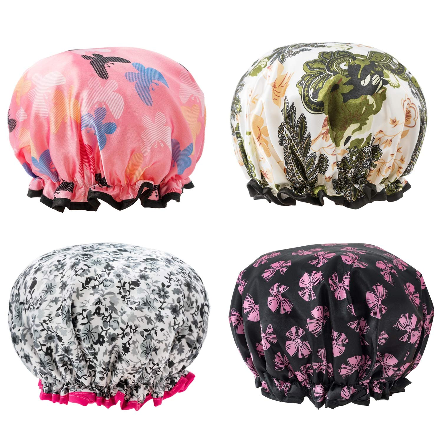 Shower Caps 4 Pack Bath Caps Perfect for Women most Hair Lengths and Thicknesses - Waterproof - Double Layer, Upgraded Version (Style 2)
