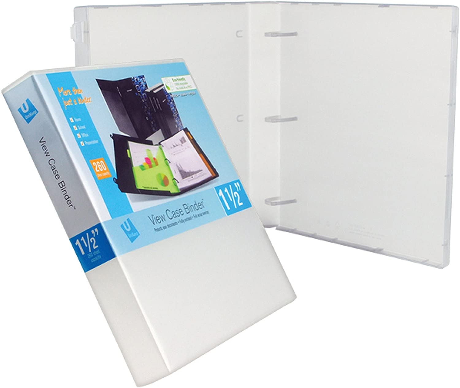 UniKeep 3 Ring Binder - White - Case View Binder - 1.5 Inch Spine - with Clear Outer Overlay - Pack of 3 Binders
