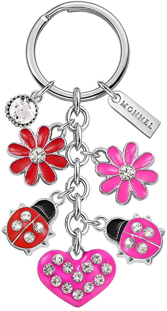 Monnel Brand New Red Pink Ladybug Heart Keychain with Velvet Bag Z430