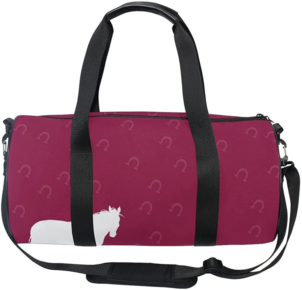 ALAZA White Horse with Grass Sports Gym Duffel Bag Travel Luggage Handbag for Men Women