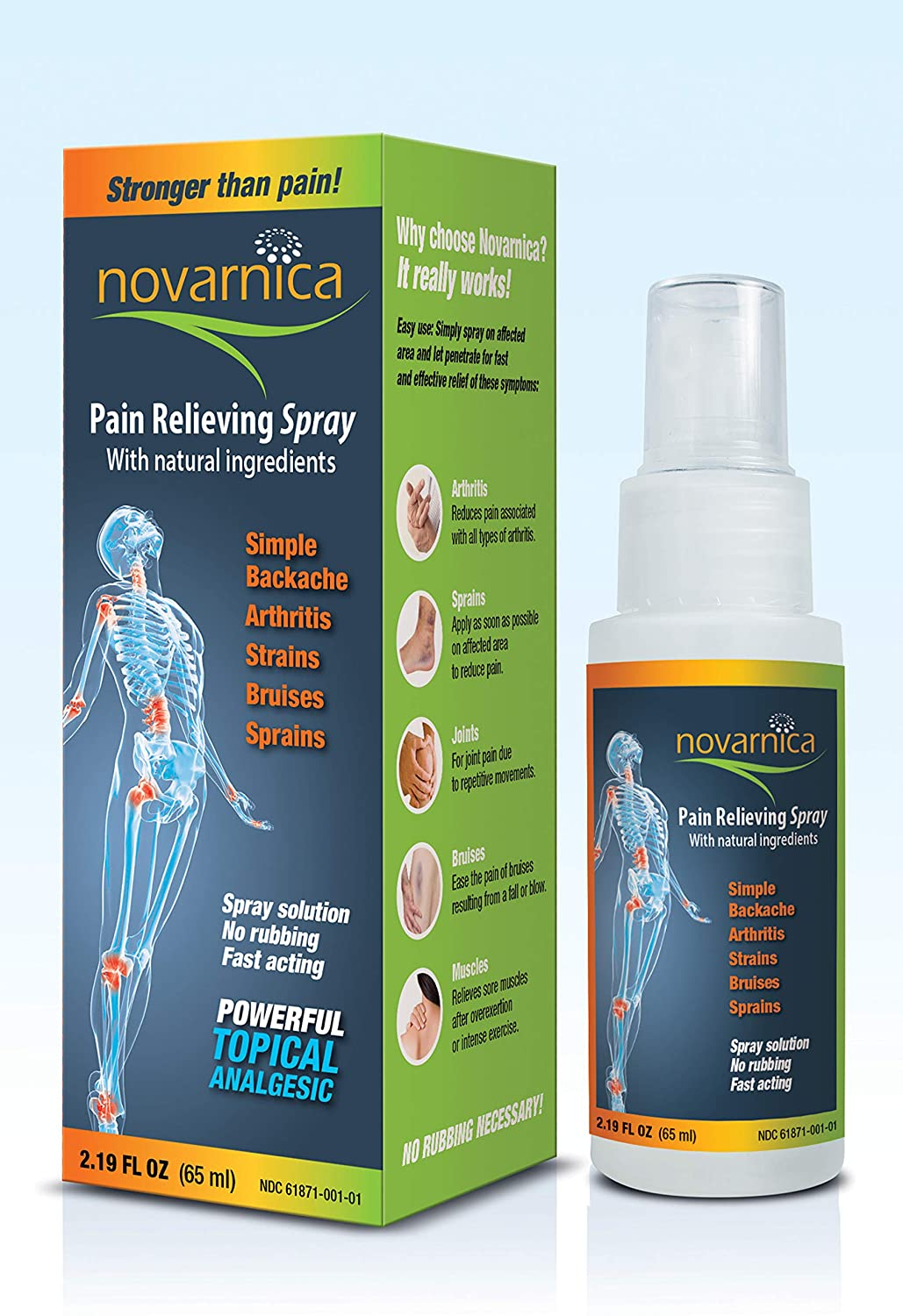 Novarnica pain reliever spray 2.19oz made with natural ingredients, Instant relief for arthritis, joint pain, osteoarthritis, sport injuries, back pain, muscle pain, sprains, strains and bruises