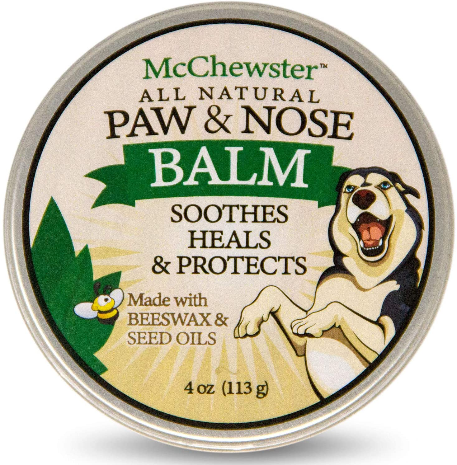 McChewster All Natural Paw & Nose Balm - Paw Cream for Dogs and Cats - 4 oz