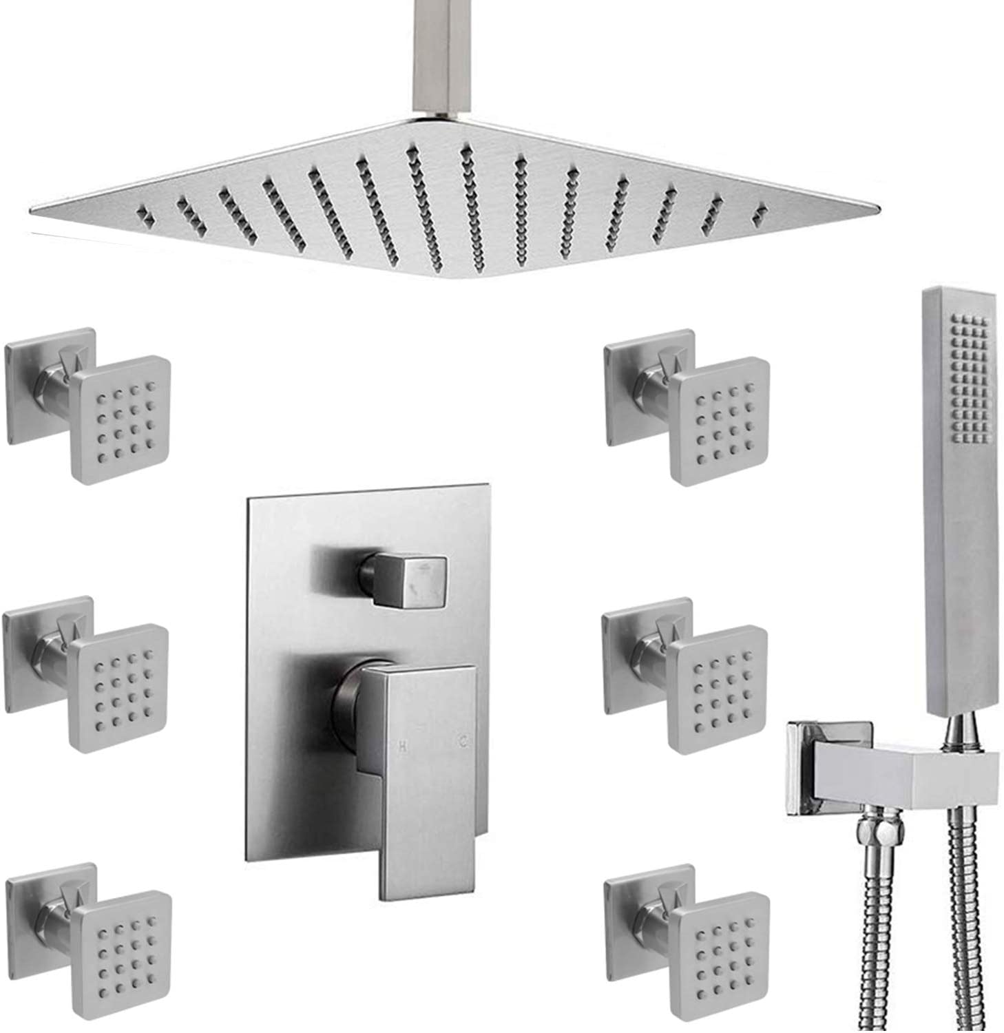 (Upgrade) Enga Luxury High Pressure Shower Body Spray System All Metal with 12inch Rainfall Shower and Hand Held Combo Set Complete Kit for Bathroom, Brushed nickel