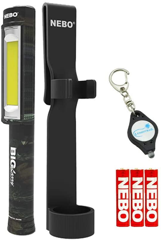 NEBO Big Larry 400 Lumen Flashlight Work Light COB Magnetic Bundle with Holster and Lumintrail Keychain Light (Camo)