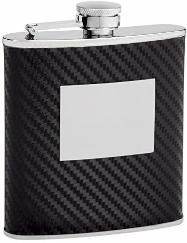Faux Carbon Fiber Hip Flask Holding 6 oz - Pocket Size, Stainless Steel, Rustproof, Screw-On Cap - Black Finish Perfect for Engraving