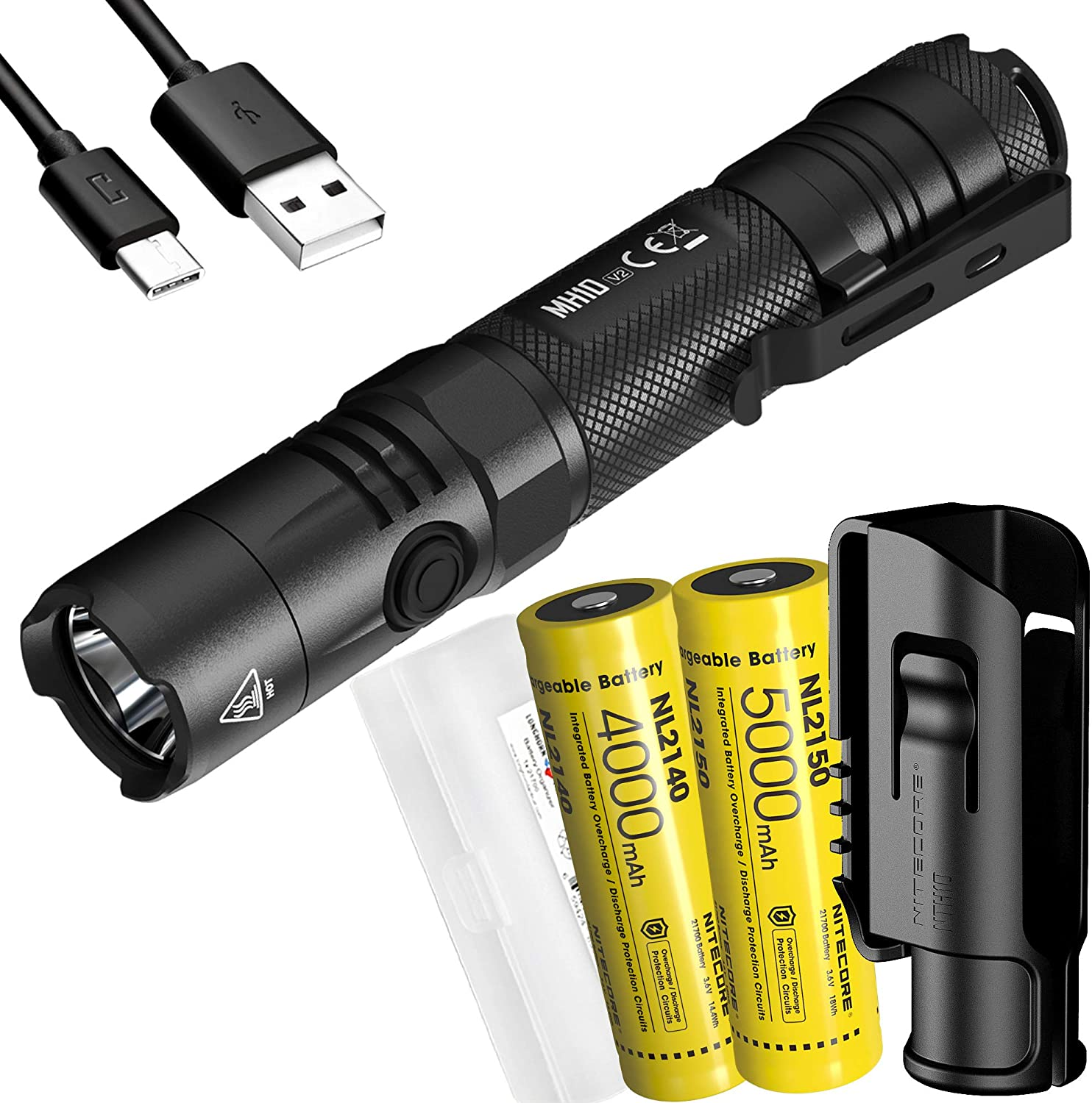 Nitecore MH10 v2 1200 Lumen USB-C Rechargeable Flashlight with 2x Batteries, Hard Holster and LumenTac Case
