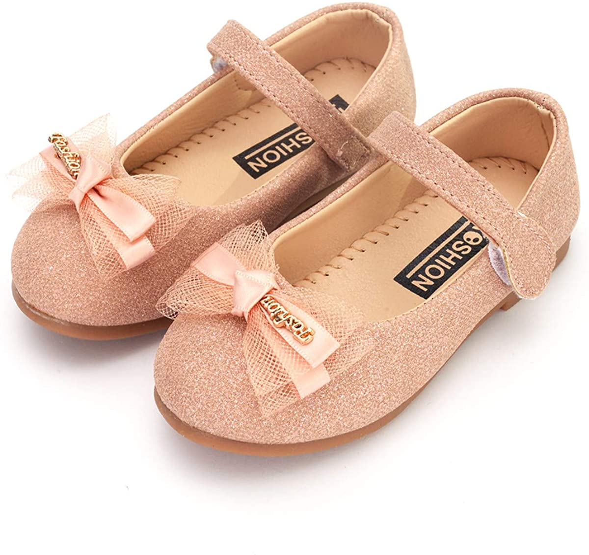 ENERCAKE Toddler Girls Shoes Mary Jane Ballerina Flats Slip-on Dress Shoes for Little Girls